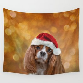 Drawing Dog breed Cavalier King Charles Spaniel  in red hat of Santa Claus Wall Tapestry