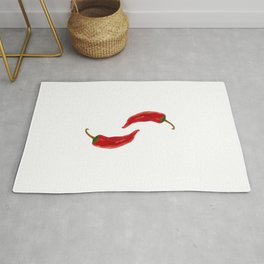 Two red chilies on white Rug