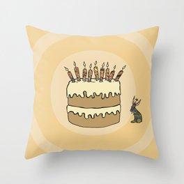 RABBIT CAKE Throw Pillow