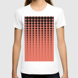 Reduced Black Polka Dots Pattern on Solid Pantone Living Coral Background T-shirt