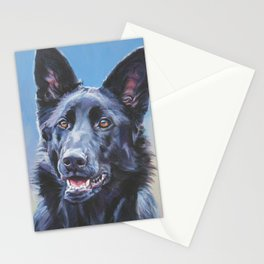 black German Shepherd dog portrait art from an original painting by L.A.Shepard Stationery Cards