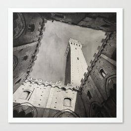Siena, Italy watercolor painting.  Il Campo in the medieval city of Siena Italy fine art painting B&W art Canvas Print