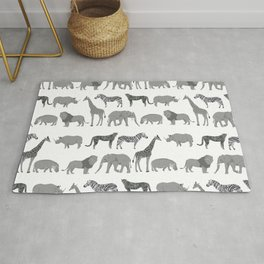 Safari animals minimal grey and white zebra giraffe cheetah hippo rhino nursery Rug