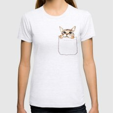 Pocket cat Ash Grey Womens Fitted Tee SMALL