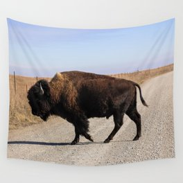An Oklahoma Landscape of Bison Crossing a Road Wall Tapestry
