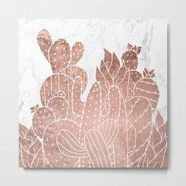 Modern faux rose gold cactus hand drawn pattern illustration white marble Metal Print