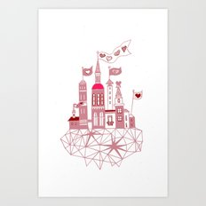 transparent city of love Art Print