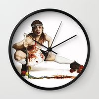 roller derby Wall Clocks featuring Roller Derby Girl by FeatherStone