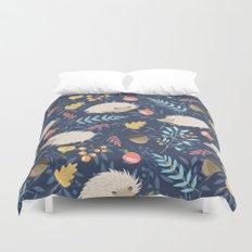 White hedgehogs Duvet Cover