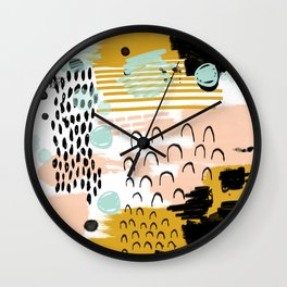 Ames - abstract painting hipster home decor trendy color palette art gifts Wall Clock