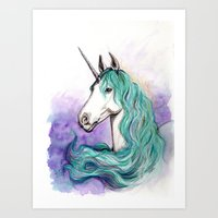 unicorn Art Prints featuring Unicorn by Pendientera