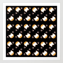 Corgi Butt Pattern Art Print