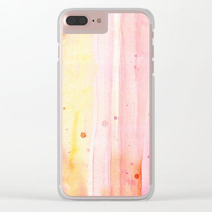Pink Orange Rain Watercolor Texture Splatters Clear iPhone Case