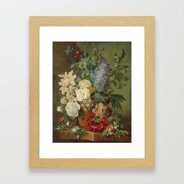 Albertus Jonas Brandt - Flowers in a terra cotta vase Framed Art Print