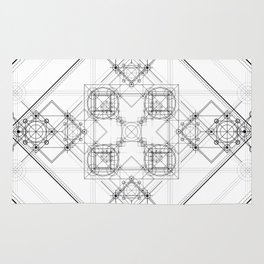 Black and white detailed sacred geometry symbol graphite Rug