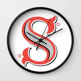 S Drop Cap Wall Clock