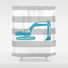 Turquoise Excavator Shower Curtain