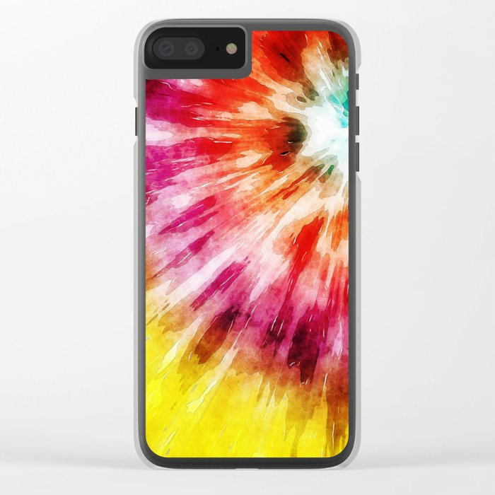 Vibrant Tie Dye Abstract Clear iPhone Case