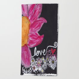 PINK FLOWER LOVE Beach Towel
