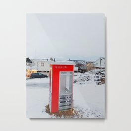 Tromso Phone Booth in the Winter Metal Print