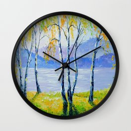 Birch trees by the river  Wall Clock