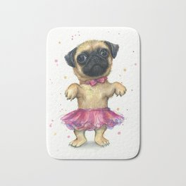 Pug in a Tutu Cute Animal Whimsical Dog Portrait Bath Mat