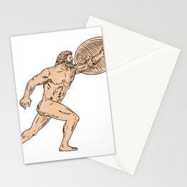 Hercules With Shield Going Forward Drawing Stationery Cards