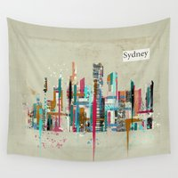 skyline Wall Tapestries featuring Sydney skyline  by bri.buckley