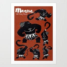 Moana, Animated Movie Poster, Oceania, Vaiana, minimal, alternative, film, playbill, 3D cartoon Art Print