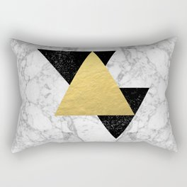 Marble Tri Black & Gold - gold foil, gold, marble, black and white, trendy, luxe, gold phone Rectangular Pillow