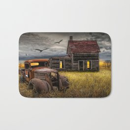 The Death of the Small American Farm with Abandoned Truck and Farm House Bath Mat