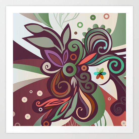 Floral curves II Art Print