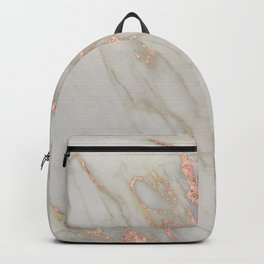 Marble - Rose Gold Marble Metallic Blush Pink Backpack