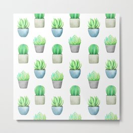Succulent and Cactus Garden Pots Pattern Metal Print