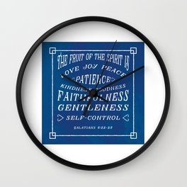 Galatians 5 v22-23 - Typographic Bible Verse (blue) Wall Clock