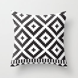 Black and White Geometric Tribal Pattern Print Throw Pillow