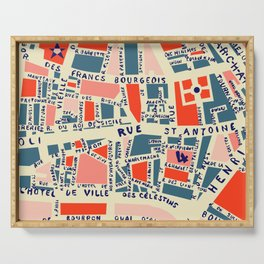 paris map blue Serving Tray