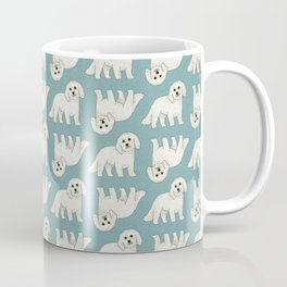 Bichon Frise Dog Pattern Green Coffee Mug