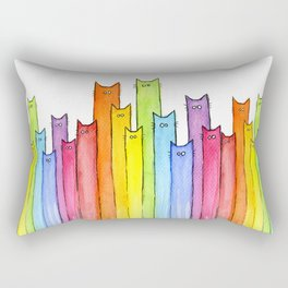 Rainbow of Cats Funny Whimsical Colorful Cat Animals Rectangular Pillow