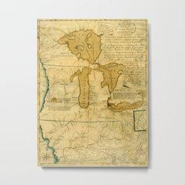 Map Of Great Lakes 1785 Metal Print