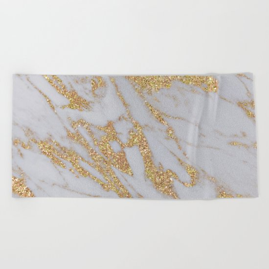 Marble - Rose Gold Marble with Yellow Gold Glitter Beach Towel