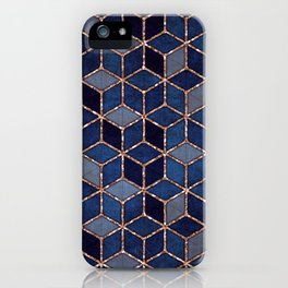 Shades Of Purple & Blue Cubes Pattern iPhone Case