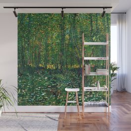 Brush and Underbrush flower and forest landscape by Vincent van Gogh Wall Mural