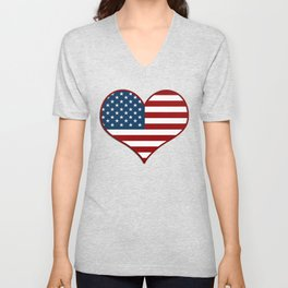 Love USA Heart Flag - Patriot/Independence Day Unisex V-Neck