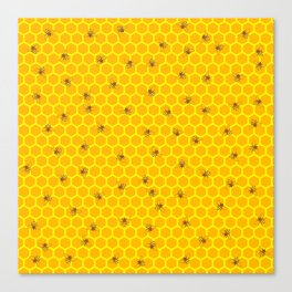 Mind Your Own Beeswax / Bright honeycomb and bee pattern Canvas Print