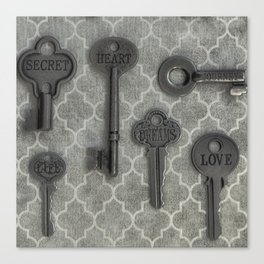Skelton Key Gray Black Canvas Print