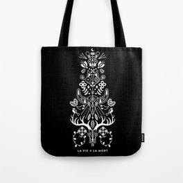 La Vie + La Mort: White Ink Tote Bag