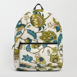 Green and Blue Indian Floral Backpack