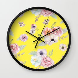 Floral I - Bright Yellow Wall Clock