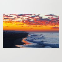 calendars Area & Throw Rugs featuring Sunrise Huntington Beach Pier   12/12/13 by John Minar Fine Art Photography
